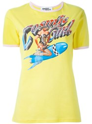 Jeremy Scott Pin Up Girl Print T Shirt Yellow And Orange