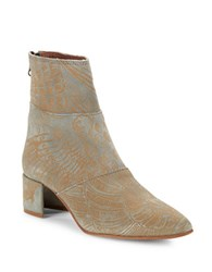 Free People Aura Textured Ankle Suede Booties Green