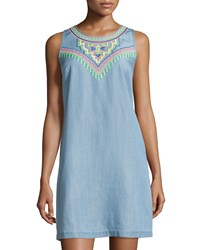 Neiman Marcus Embroidered Chambray Sleeveless Dress Soft Denim Blue