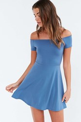 Kimchi And Blue Kimchi Blue Knit Crepe Off The Shoulder Mini Dress Slate