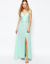 Jarlo V Front Maxi Dress With Frill Detail And Center Split Mint Green