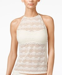 Hula Honey Crochet High Neck Tankini Top Women's Swimsuit Cream
