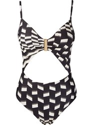Lygia And Nanny Cut Out Detail Printed Swimsuit Black