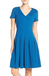 Eliza J Petite Women's Ponte Fit And Flare Dress Teal