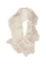 Karl Donoghue Mesh Embossed Toscana Lambskin Shearling Button Shrug White