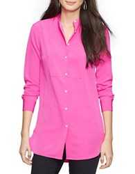 Lauren Ralph Lauren Petite Crepe Button Up Tunic Pink