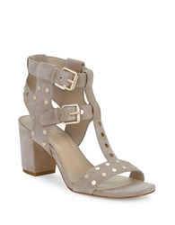 424 Fifth Letha Suede Studded Sandals Safari