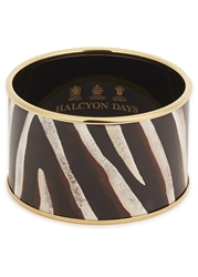 Halcyon Days Zebra 18Kt Gold Trimmed Enamel Bangle