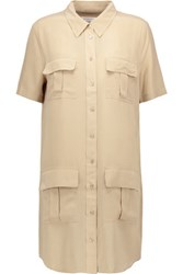Equipment Remy Brushed Silk Shirt Dress Beige