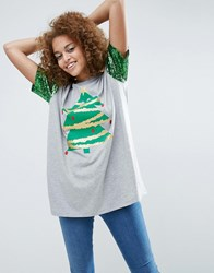 Asos Christmas T Shirt With Sequin Sleeve And Christmas Tree Print Grey Marl
