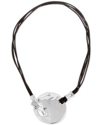 Robert Lee Morris Soho Silver Tone Leather Hammered Disc Pendant Necklace