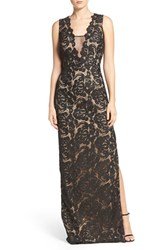 Aidan Mattox Women's Illusion Neck Lace Gown Black
