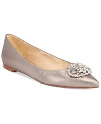Badgley Mischka Davis Ii Embellished Pointed Toe Evening Flats Women's Shoes Pewter