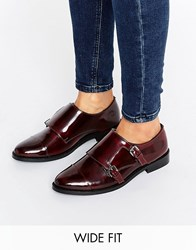 Asos Michaela Wide Fit Leather Flat Shoes Oxblood Red