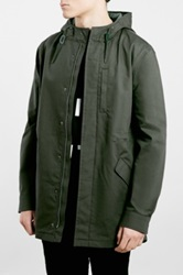 Topman Lightweight Olive Fishtail Parka Green