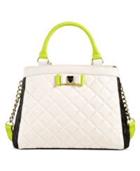 Betsey Johnson Quilted Satchel Cream