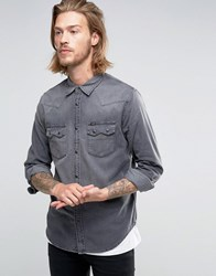 Lee Rider Western Denim Shirt Dark Focus Dark Focus Grey