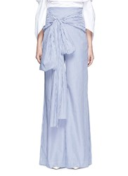 Rosie Assoulin Bow Waist Stripe Wide Leg Pants Blue