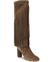 Inc International Concepts Women's Tolla Tall Fringe Boots Only At Macy's Women's Shoes Mushroom
