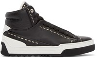 Fendi Black Leather Studded High Top Sneakers