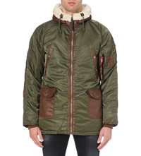 Alpha N3 B3 Quilted Shell Parka Coat Dark Green