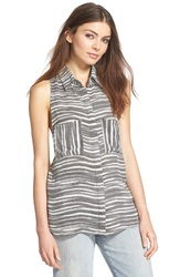 Leith Sleeveless Button Front Top Ivory Egret Rope Print