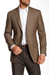 Hart Schaffner Marx Chicago Houndstooth Two Button Notch Lapel Wool Jacket Brown