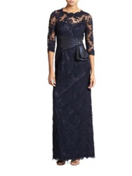 Teri Jon By Rickie Freeman Beaded Lace Gown Navy