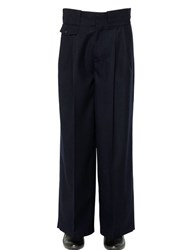Maison Martin Margiela 32Cm Pleated Wool Flannel Pants