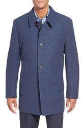 Men's Big And Tall Corneliani Classic Fit Wool And Cashmere Overcoat Medium Blue Solid