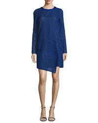 J. Mendel Long Sleeve Lace Shift Dress Imperial Blue Noir