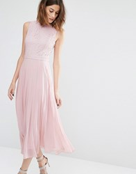 Warehouse Lace Pleated Midi Dress Pale Pink
