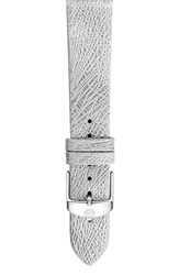 Women's Michele 16Mm Leather Watch Band Silver