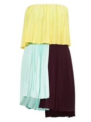 Emilio De La Morena Tri Coloured Pleated Dress