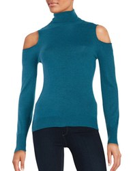T Tahari Flynn Cold Shoulder Pullover Sweater Beau Blue