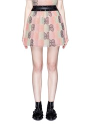 Giamba Butterfly Embroidered Eyelet Trim Tulle Skirt Multi Colour