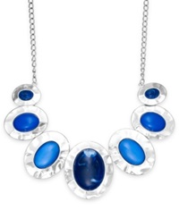Styleandco. Style And Co. Silver Tone Blue Cabochon Hammered Oval Necklace