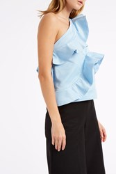 Msgm Ruffle One Shouler Top Blue