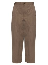 Helmut Lang High Rise Wide Leg Cotton And Linen Blend Trousers Beige