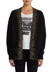 Saint Laurent Glitter Embellished Open Front Cotton Cardigan Black Gold