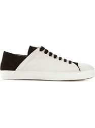 Ann Demeulemeester Contrasting Heel Counter Sneakers White