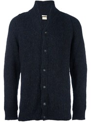 Massimo Alba V Neck Ribbed Cardigan Blue