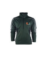 Antigua Men's Miami Hurricanes Discover Half Zip Pullover Jacket Pine Green Gray