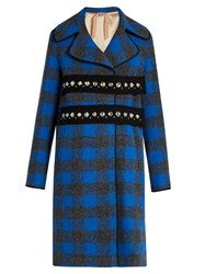 N 21 Embellished Wool And Alpaca Blend Checked Coat Blue Multi