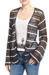 Volcom Junior Women's Volcolm 'West Fest' Stripe Crochet Cardigan