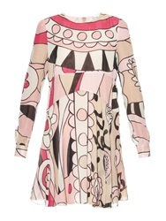 Red Valentino Psychedelic Print Silk Babydoll Dress