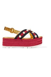 Gucci Embellished Metallic Leather Espadrille Platform Sandals Gold
