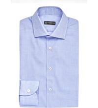 Corneliani Regular Fit Triangle Print Cotton Shirt Blue