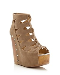 Chinese Laundry Jiff Caged Wood Wedge Sandals Compare At 89.95 Taupe