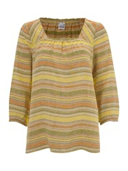 Lands' End Square Neck Striped Linen Tunic Pastel Yellow